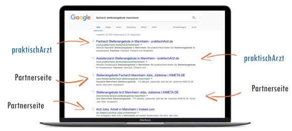 PraktischArzt Google Suchergebnisse Partner