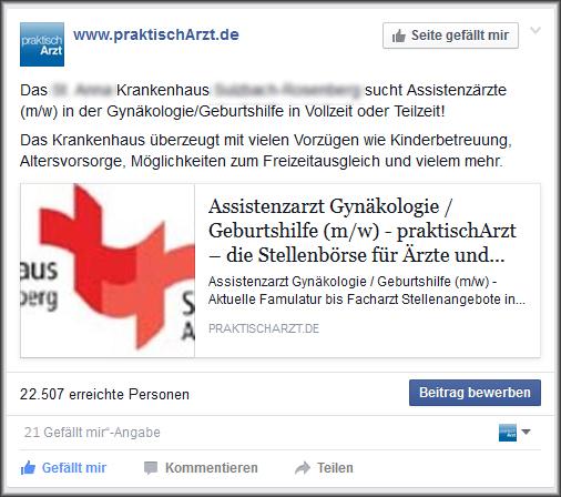 Screenshot Facebook Anzeige